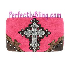 Fashion Western Cross Bling Wallet - PINK