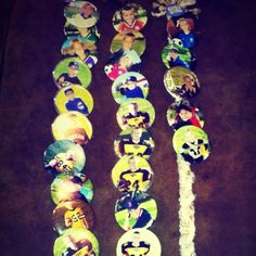 """How to display your kids SPORTS BUTTON PICTURES.   Braid yarn about 18"""" long, pin button to yarn braid, not before dating the back of button w/sharpie.  ~Look how they've grown!~"""