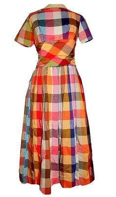 Vintage 50's RAINBOW Plaid Print Bombshell Cotton Party Dress Never Worn NOS #CarolRodgers