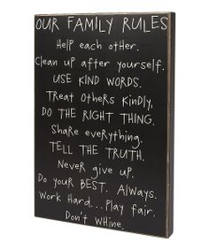 'Our Family Rules' Box Sign | Daily deals for moms, babies and kids