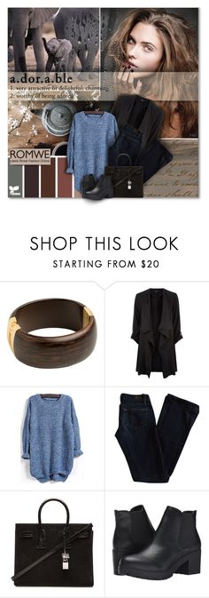 """""""Earthy Theme With Blue Sweater"""" by graciew7 ❤ liked on Polyvore featuring Paige Denim, Yves Saint Laurent, Steve Madden and romwe"""