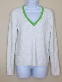 Womens White Tommy Hilfiger Cabled Knit V Neck Sweater Size L #TommyHilfiger #VNeck