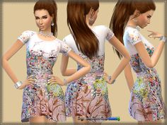 The Sims Resource: Dress Small Flower by Bukovka • Sims 4 Downloads