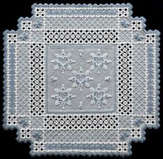 See the pretty Snowtime Hardanger Doily at Nordic Needle