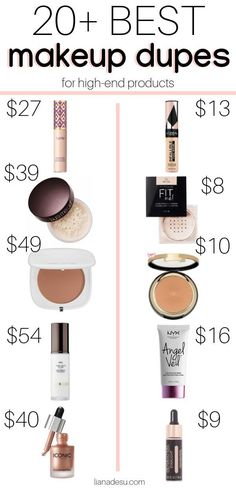 The ultimate list of the best drugstore makeup dupes! Save your money on makeup . - - The ultimate list of the best drugstore makeup dupes! Save your money on makeup by trying these drugstore makeup Dupes that are just as good if not be. Best Drugstore Makeup, Drugstore Makeup Dupes, Beauty Dupes, Makeup Swatches, Best Makeup Products, Beauty Makeup, Beauty Products, Elf Dupes, Eyeshadow Dupes