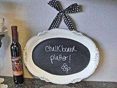 Vintage China CHALKBOARD platter kitchen chalkboard by NEWaged