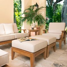 The Laguna Teak Ottoman is made of Certified Teak Wood and its cushions are made with Premium Sunbrella Fabric. All of our teak ottomans come with a 30 Day Money Back Guarantee. Teak Outdoor Furniture, Lounge Furniture, Furniture Decor, Living Room Furniture, Furniture Design, Antique Furniture, Sofa Design, Rustic Furniture, Outdoor Chairs