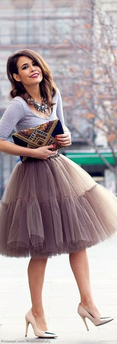 Tulle skirt with tribal clutch
