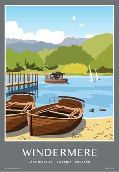 Travel style posters of The Lake District, Cumbria. Art prints produced by White One Sugar Cumbria, Ambleside Lake District, Party Vintage, British Travel, Railway Posters, Portrait Pictures, Vintage Travel Posters, Retro Posters, Parc National