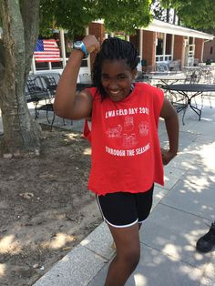 11 year old Kyra puts on her best pose for physical health–check out those muscles!  Coordinator Clare will be blogging from Camp Pennbrook this summer! You can check out her first blog post here: http://healthcorps.org/blog/healthcorps-first-week-camp-pennbrook/  #summer #summercamp #healthyliving #strikeapose #blogging #behindthescenes #healthcorps
