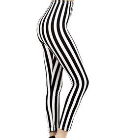 Beetlejuice Black & White Stripe Punk Leggings