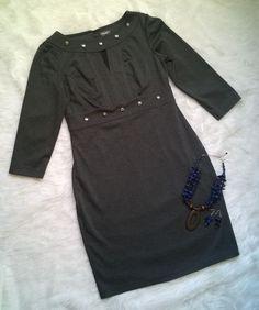 Womens Muse Charcoal Gray 3/4 Sleeve Sheath Dress With Studded Neckline 10 EUC #Muse #Sheath #CasualFestiveWeartoWork