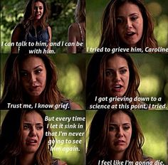 Elena 6x01. I think a lot of people overlooked this scene. Elena has lived in a perpetual state of grief for most of her recent years, but this death hit her hard, in a way we haven't seen since Jeremy's death.