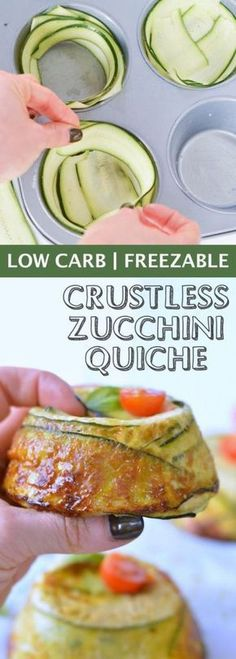 Single Serve CRUSTLESS ZUCCHINI QUICHE with Pesto and Parmesan. Low carb, 8.5g of net carbs