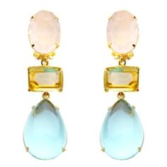Rose Lemon Blue Quartz Earring  Price: $525.00