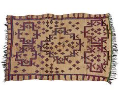 Azilal Rug, Middle Atlas Mountains, Morocco, Wool, Low Pile,  This Azilal rug is hand woven with light wool of a creamy white tone. It has been woven with the traditional diamond motif with small highlights of yellow ocre wool. There are long, white tassels on one end and a neatened edge on the other. This rug is in a good vintage condition and would be suitable for within a living area or wide hallway. Size: 298x135cm