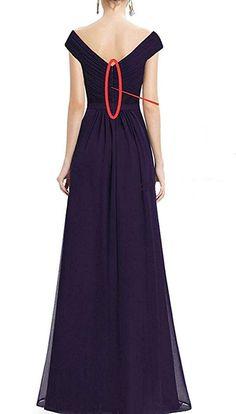 1a8725f92daa LOVING HOUSE Womens VNeck Chiffon Slit Long Bridesmaid Dress Off The  Shoulder Wedding Evening Dress P120