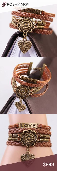 >>Coming Soon<< New~ Infinity Love Knot Bracelet Infinity Heart Love Knot Boho Bracelet  CONDITION: Brand New SIZE: One size COLOR: Brown  PRODUCT DETAILS:   Knot design Love & Heart detail Copper tone alloy metal Back clasp closure  # Boho, Retro, friendship, Infinity, bohemian Jewelry Bracelets