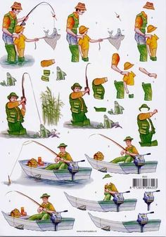 How do I love fishin'? Let me count the ways. Image 3d, Water Color World Map, 3d Sheets, Fathers Day Crafts, 3d Cards, 3d Prints, Decoupage Paper, Watercolor Cards, Paper Decorations