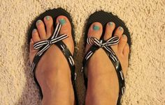 DIY Ribbon Flip Flops ~ So cute! I'm sad I have to put my flip flops away soon, but I will make a few pairs for next year...