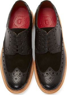 Grenson Black Leather Shortwing Archie Brogues