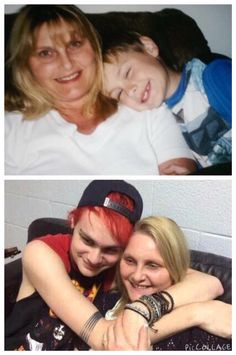 Mikey & his mum, Karen, then and now>>> KILL ME NOW THIS IS TOO CUTE