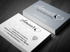 Loyalty card for Amour Hairdressing with personalised stamp