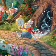 """Disney's Alice in Wonderland"" by Thomas Kinkade Thomas Kinkade Disney, Thomas Kinkade Art, White Rabbit Alice In Wonderland, Alice In Wonderland Drawings, Alice Rabbit, Disney Kunst, Arte Disney, Wonderland Tattoo, Wonderland Party"
