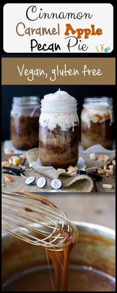 Cinnamon Caramel Apple Pecan Pie | www.veggiesdontbite.com | #vegan #glutenfree #fall #norefinedsugar #apples #pecans