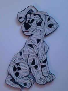 Spotted cartoon dog quilled - unknown quiller
