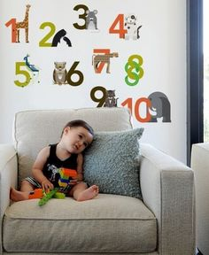 """Numbers Re-Stick Wall Decals by Blik. $22.00. Blik. 1,2,3,4. We've got Numbers galore. Part of a limited edition collection created by A Modern Eden for Blik's 10 Year Birthday. Made with Blik Re-Stik, these decals are movable and reusable. Set includes: 10 numbers from 1 to 10. Decals range in size from 4"""" to 9"""" wide by 4"""" to 6"""" high."""