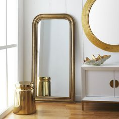Inspired by French design, the extra tall French mirror is can be used as a leaning mirror or suited to hang on the wall. This stately piece has a metal frame, available in two gold or silver, and round lines. Tall Mirror, Leaning Mirror, Window Mirror, Floor Mirror, French Mirror, Minimalist Room, French Home Decor, Traditional Furniture, Bedroom Styles