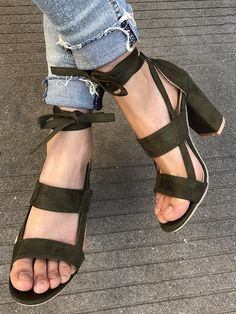 OMG Army Green Strap Detail Heeled Sandals #elegantshoegirl #shoes #ankle  #boots #flats #fashions #womens