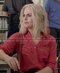 Liv's red button front blouse on iZombie.  Outfit Details: http://wornontv.net/52459/ #iZombie
