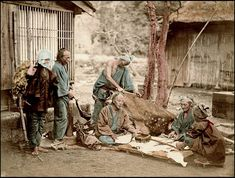 "THE ""ETA 穢多"", ""BURAKUMIN 部落民"", and ""HININ 非人"" -- The Non-Human Outcasts of Old Japan by Okinawa Soba, via Flickr.  This 1873 photograph by the elder SHINICHI SUZUKI depicts LEATHER WORKERS (Tanners).  One fellow scrapes the hide of a slaughtered deer, while another seems to be discussing a piece of finished cat skin to cover an old samisen. On the right stands a young man with a load of pelts."