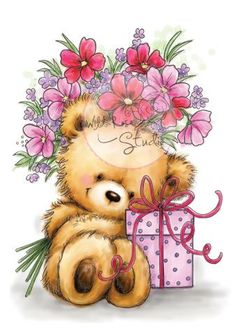 Karten-Kunst - Stempel- und Scrapbook-Shop - Wild Rose Studio Clear Stamp - Teddy with Present Cute Teddy Bear Pics, Teddy Bear Pictures, Cute Bears, Bear Images, Birthday Clipart, Pintura Country, Cute Clipart, Love Bear, Tatty Teddy
