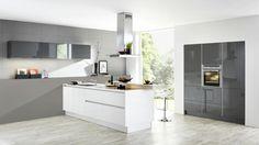 nolte küchen design graue akzentwand weiße kücheninsel