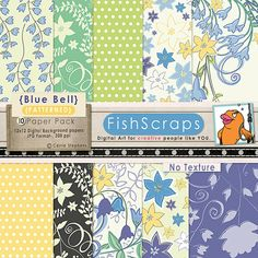 Digital Papers for Scrapbooking Blog Backgrounds - Commercial Use - Blue Bell