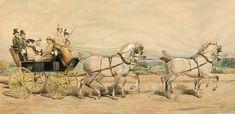 """Joyride"" (1907) byFranciszek Zajchowski (Polish,1860 - 1923), watercolour on cardboard, 42 x 84 cm, private collection."