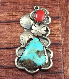 Vintage Old Pawn Turquoise & Red Coral Cuff Pendant 925 Sterling Silver