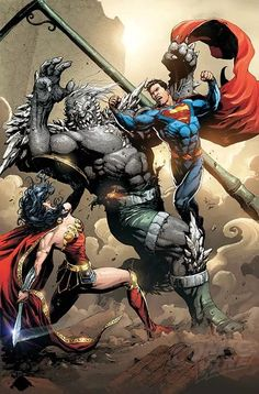 """Superman and Wonder Woman vs Doomsday - DC COMICS (W) Dan Jurgens (A) Stephen Segovia, Art Thibert (CA) Clay Mann """"Path to Doom"""" part six! In the epic conclusion, the mystery of Black Zero deepens just as the Man of Steel makes a fateful de Math Comics, Dc Comics Art, Hq Marvel, Marvel Dc Comics, Man Of Steel, Gotham, Harley Queen, Dc Rebirth, Univers Dc"""