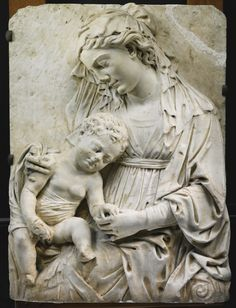 Italian, Florence, circa 1470 - RELIEF WITH THE MADONNA AND CHILD, white marble, 89 x 66cm