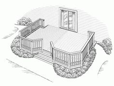 Backyard deck plans. Would love to be able to do this and install a sliding glass window in our room.