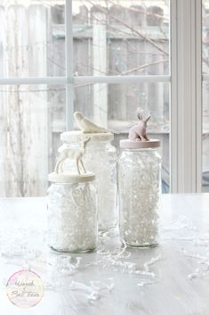 Fun painted animal jars using reused jars and Annie Sloan Chalk Paint for Valentine's.