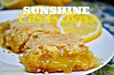 Ooey, gooey Sunshine Citrus Bars with bright citrus flavors.  Easy to make gluten free!  honeysuckleafternoons.com