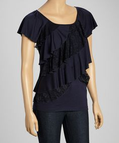 Another great find on #zulily! Navy Lace-Trim Tiered Top - Petite by Allie & Rob #zulilyfinds