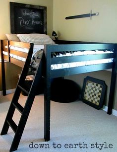 Cool kid room set up..... so much room for activities! Plus it would be super easy to turn the space under the bed into a fort.