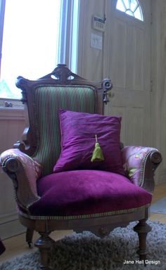 Vintage East Lake Reupholstered Armchair in Italian Embroidered Silk and Osborne and Little Cut Velvet