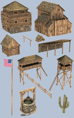 Many of today's collectors received their first toy train set when they were young, often as a Christmas or birthday present. Wooden Fort, Forte Apache, Old West Town, Wargaming Terrain, Military Diorama, Model Train Layouts, Cardboard Crafts, Le Far West, Toy Soldiers