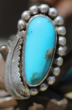 VINTAGE SIGNED SOUTHWESTERN STERLING SILVER & BLUE TURQUOISE RING DALE ANDERSON
